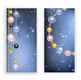 Two banners with beads. Two banners with black, pink, blue beads and gold chains on a blue textural background. Trendy color. Jewelry Design.Rose Quartz and royalty free illustration