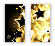 Two banners with black stars Stock Images