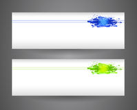 Two banners with blue and yellow abstract spray paint. Crumpled paper background. Royalty Free Stock Photo