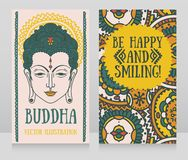Two banners with Buddha head and ethnic ornament vector illustration