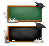 Two banners of chalkboards with school supplies. And graduation caps. Vector Stock Image