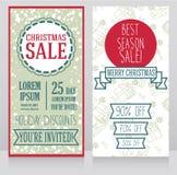 Two banners for christmas seasonal sale Stock Photos