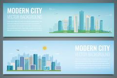 Two banners with City landscape. Building architecture, cityscape town. Smart city. Vector Royalty Free Stock Photos