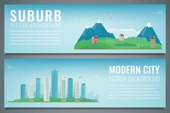 Two banners with City landscape and suburban landscape. Building architecture, cityscape town. Vector Royalty Free Stock Photography