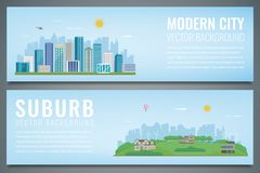 Two banners with City landscape and suburban landscape. Building architecture, cityscape town. Vector Royalty Free Stock Photos
