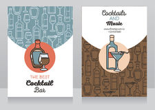Two banners for cocktail bar. Can be used as template for party invitation, vector illustration Royalty Free Stock Photography