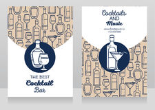 Two banners for cocktail bar. Can be used as template for party invitation, vector illustration Royalty Free Stock Photo