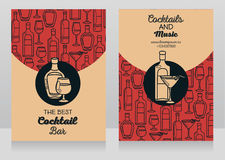 Two banners for cocktail bar. Can be used as template for party invitation, vector illustration Royalty Free Stock Images