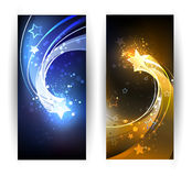 Two banners with the comet. Two horizontal banner with blue and gold comet Stock Photos