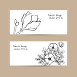 Two banners on craft background with ink hand drawn flowers.  Royalty Free Stock Photo