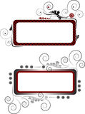 Two banners with the curves and beads.Banner. Back Stock Images