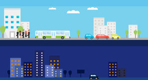 Two banners with day and night city life. Vector flat illustration with people, bus, cars and trees. vector illustration