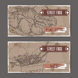 Two banners with falafel and wok sketch on grunge background Royalty Free Stock Photography