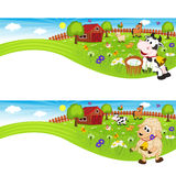 Two banners with farm animals in barnyard Stock Image