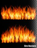 Two banners with fire on black background. Vector Stock Images