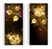 Two banners with gold roses Stock Photo