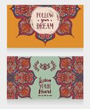 Two banners with gypsy style pattern, can be used as invitation for boho style party or greeting cards. Vector illustration stock illustration