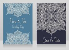 Two banners for gypsy style wedding with beautiful lace ornament Royalty Free Stock Photos