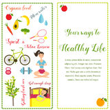 Two banners healthy life style in flat design. With bright icons Vector Illustration