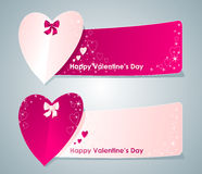 Two banners with hearts Royalty Free Stock Image