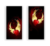 Two banners with the hearts angel. Two banners with red hearts angel with golden wings on a black background vector illustration