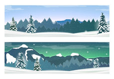 Two Banners with Holiday Winter Landscape. Vector Stock Images