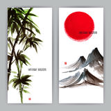 Two banners with Japanese natural motifs Stock Image