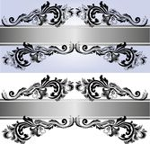 Two banners with ornaments. Two banners with beautiful floral ornaments in the gray scale Stock Image