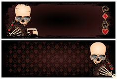 Two banners with poker skeleton Stock Images