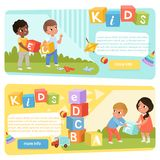 Two banners with preschool kids with colored ABC cubes. Speech therapy. Playful learning. Flat vector design for child. Two banners with preschool kids with stock illustration