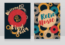 Two banners for retro vinyl party Stock Image
