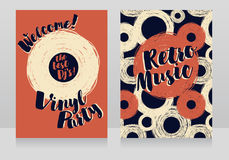 Two banners for retro vinyl party Stock Photo