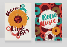 Two banners for retro vinyl party. Disco style invitations, vector illustration Royalty Free Stock Photo