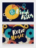Two banners for retro vinyl party Royalty Free Stock Photo