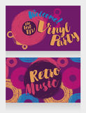 Two banners for retro vinyl party Stock Images