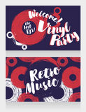 Two banners for retro vinyl party Royalty Free Stock Photography