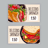 Two banners with sandwiches Stock Image