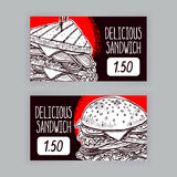 Two banners with sandwiches Royalty Free Stock Photography