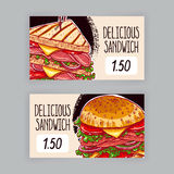 Two banners with sandwiches Royalty Free Stock Images