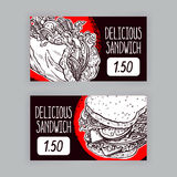 Two banners with sandwiches Stock Photography