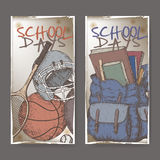 Two banners with school related color sketches featuring sport gear and backpack. Stock Images