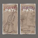 Two banners with school related sketches featuring art tools and violin. Stock Photography