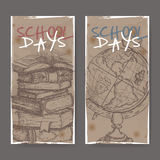 Two banners with school related sketches featuring books and globe. Stock Image