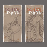 Two banners with school related sketches featuring microscope and electric generator model. Stock Photo