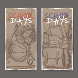 Two banners with school related sketches featuring sport gear and backpack. Stock Photography