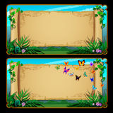 Two banners scrolls of parchment with butterflies Stock Photo