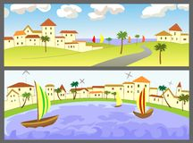 Two banners with seascapes. Two poster with seascapes. Vectorian illustration royalty free illustration