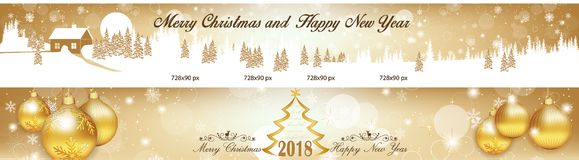Two banners set leaderboard for Christmas and New Year 2018. Banner set for Christmas and New Year 2018 with Christmas baubles, winter landscape, fireworks Stock Photo