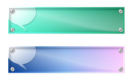 Two banners. Set of two banners with speech bubble and glass panel Stock Images