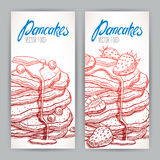 Two banners with sketch appetizing pancakes Royalty Free Stock Image